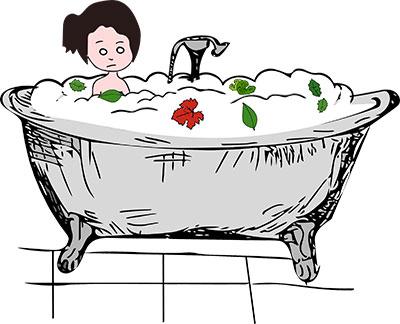 Gaia fa un bagno anticellulite con erbe officinali