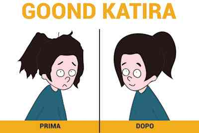 Gaia prima e dopo aver applicato il gel di goond katira sui capelli